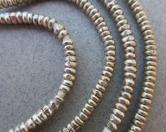 African Silver Heishi Beads -2 Strands