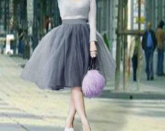 Grey tulle skirt. Tulle skirt. Women tulle skirt.Tea length tulle skirt. Plus size tulle skirt. Classic skirt.New look skirt.