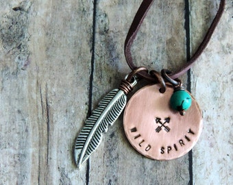 Wild Spirit Necklace Boho Jewelry Stamped Copper Pendant Tribal Arrows Feather Turquoise Bead