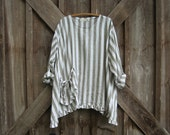 linen top blouse natural white stripe ready to ship