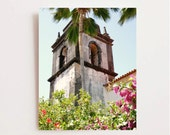 Spanish Style Decor - Brazil Travel Photography - Bell Tower Photo - Architecture Print - Palm Tree Wall Art - Pink Flowers - California