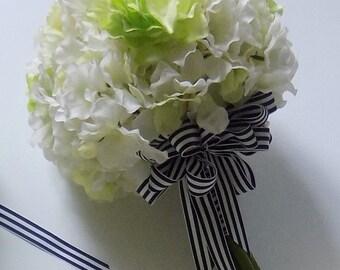 Hydrangea Wedding Bouquet, Navy and White Striped Ribbon With Hydrangeas, Green and White Hydrangea Bridal Bouquet