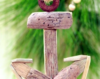 Nautical Wooden Christmas Ornament - Aged Wood Anchor Ornament - Shipwreck Anchor Decoration - Nautical Themed Christmas Decor -anchors Away