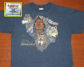 Spirit Brothers Minnesota vintage t-shirt L/XL blue 90s wolves Native American