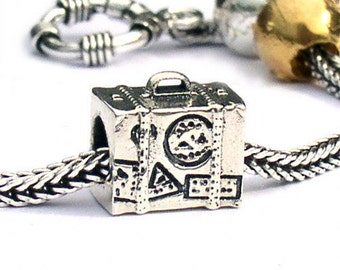 Suitcase Charm Beads Sterling Silver LM046
