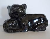 Vintage Brush McCoy Black Cat Figural Ceramic Planter 348A