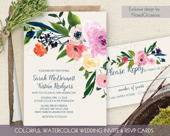 Watercolor Floral Wedding Invitations Printable By NotedOccasions