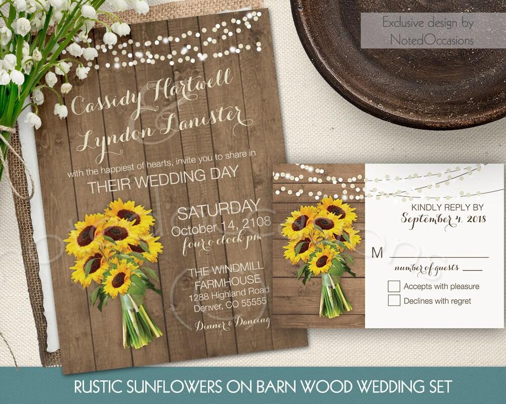 Rustic Wedding Invitation Sets: Rustic Sunflower Wedding Invitation Set/Suite By