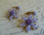 Weiss Flower Earrings, Vintage Purple Daisy Drop or Dangle Earrings,Clip On Enamel and Gold Earrings