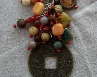 EARTH Beaded purse charm fob key chain zipper pull