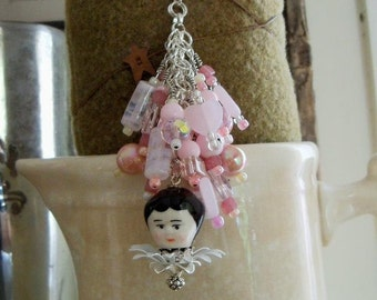 PINK Beaded purse fob key chain zipper pull