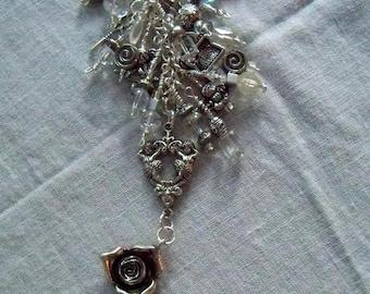 ROSE Beaded purse charm fob key chain zipper pull
