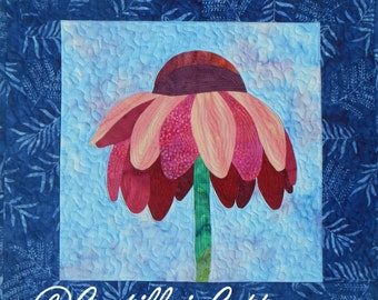 Cone Flower Art Quilt, 4435-10, cone flower wall hanging, flower wall quilt
