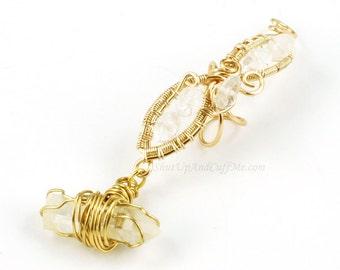 Gold and Quartz Fairy Ear Cuff - LEFT ear