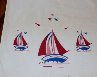 Large Vintage 1950s Heavy Muslin Cotton Laundry Bag with Sailboats
