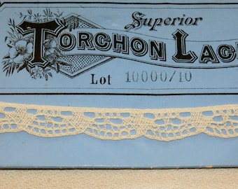 Antique Torchon Bobbin Lace, Lot 10000/10, Germany 6 yards Ivory, Original Package