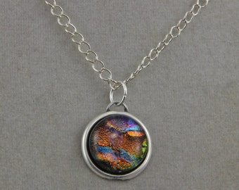 Handmade Dichroic Glass on Silver Plated Brass Necklace