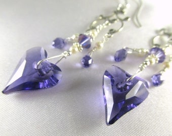 Swarovski Purple Tanzanite Wired Wild Heart Chandelier Earrings in Sterling with Tanzanite AB Teardrops, Ivory Pearls - Radiant Orchid