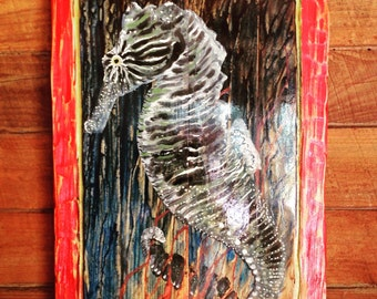 """Seahorse painting 20"""" red distressed frame on reclaimed wood original coastal home decor vintage beach wall art by wildlife artist Todd Lynd"""