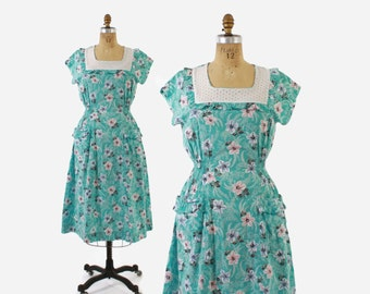 1940s Floral Print Cotton DAY DRESS / Aqua, Pink and Black Vintage 40s Dress with Pockets, m - l