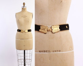 80s San Marcos METAL MESH & Leather BELT / 1980s Ethnic Inspired Suede and Gold Buckle Belt
