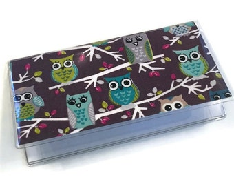 Checkbook Cover Owls on a Branch