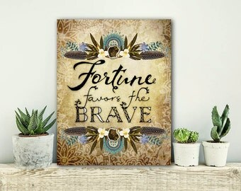 ON SALE 20% OFF Fortune Favors the Brave - stretched canvas print, typographic print, bohemian art, canvas art, quote on canvas, large art