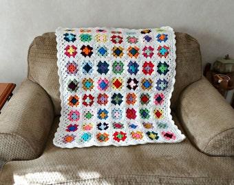Crochet Baby Blanket, Granny Square Afghan,  Retro Style Nursery Decor, Multi Color Lap Throw, Infant Crib Blanket