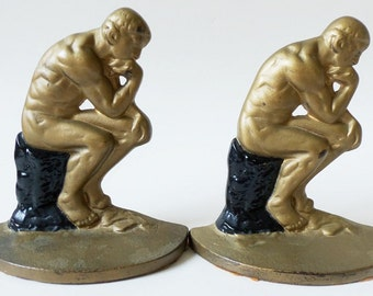 The Thinker Cast Iron Bookends Gold and Black Antique