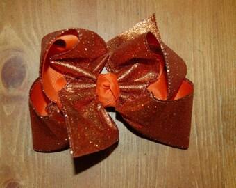 SSD Solid Orange Glitter Boutique Hairbow Sassy Sweet Designs Custom