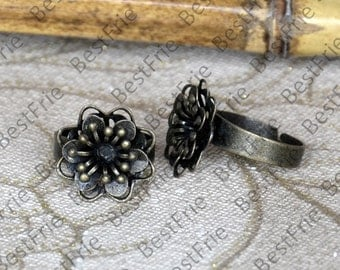 8 pcs Antique brass Open Adjustable RING Filigree Base Cabochon , Filigree Base Rings,jewelry findings