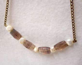 Faceted Ametrine and Pearl Necklace, Amethyst Citrine Necklace, Ametrine Jewelry