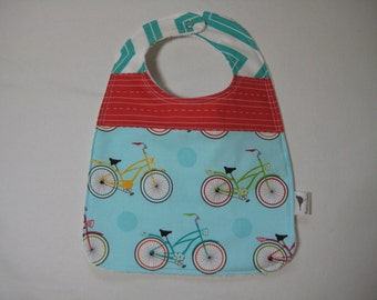 Baby Bibs - You choose 1,2, or 3 Transportation, Bicycle, Pet Dog Cotton and Terry Cloth Snap Closure