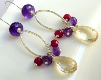 Amethyst, Ruby and Champagne Citrine Drop Earrings. Petite Dangle Earrings. Cluster and Beadwork Earrings.