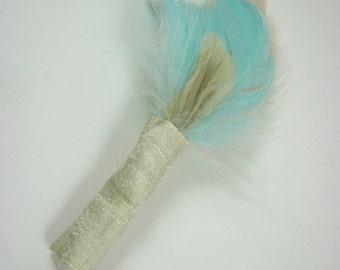 Aqua boutonniere - feather boutonniere - champagne boutonniere - groom - groomsmen - wedding - SALE