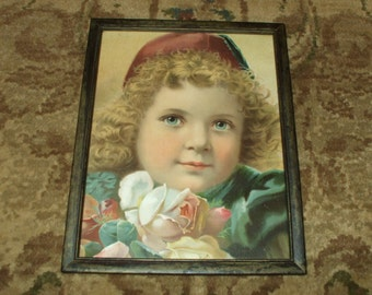 Vintage Framed Print Adorable Child Rustic Shabby Decor Victorian Art