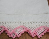 White Damask Guest Towel With Pink Crochet Edge
