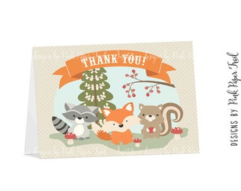 Woodland Animals Thank You Card - Instant Download - Print Your Own