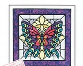 Butterfly stained glass applique pattern, sewing pattern, butterfly, Three Swans Studios, applique, sewing, quilting, pattern, supplies