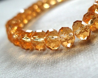 "Citrine Yellow Faceted Rondell Crystal Beads, 6mm x 4mm, 8"" strand, 50 beads"