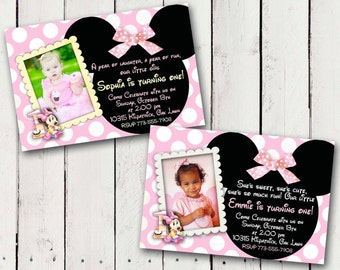 Baby Minnie Mouse 1st Birthday Party Invitations