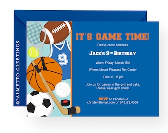 PRINTABLE - Birthday Sports Theme Invitation (Game Time)
