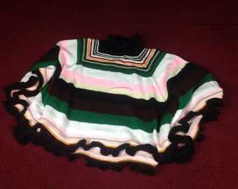 Striped multicolor poncho with ruffled neck and edge