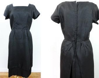Vintage Black Dress Size 18 Ladies Fashion Lovely Fattering Slimming Design Free Shipping