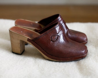 70's Brown Leather Clogs, Made in Italy / 7-7 1/2