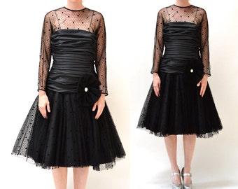 Vintage Black Dress Size Medium with Crinoline Skirt  // 90s Black Illusion Dress// Black Holiday Party Prom Dress Size Medium Large