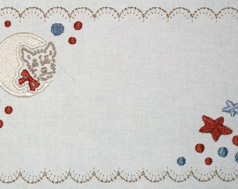 Retro scotty dog embroidered quilt label to customize with your personal message