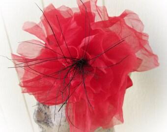 SALE Red Organdy Flower Fascinator