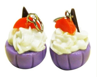 6 Miniature Blueberry Cupcake and Peach Polymer Clay Foods Supplies for Beaded Jewelry Charms
