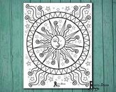 INSTANT DOWNLOAD Coloring Page - Celestial Mandala Design, doodle art, printable Design 7
